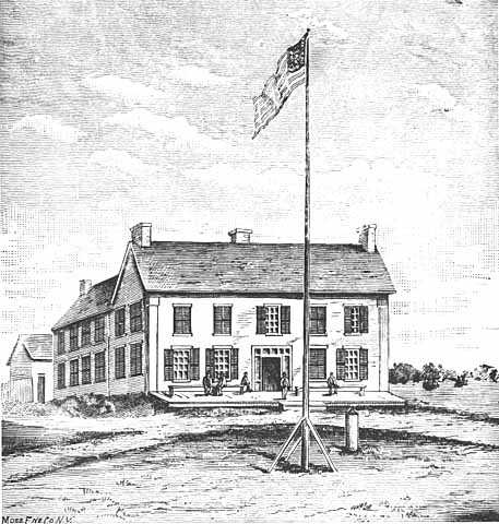Black and white print of the first capitol building of Minnesota Territory c.1849.