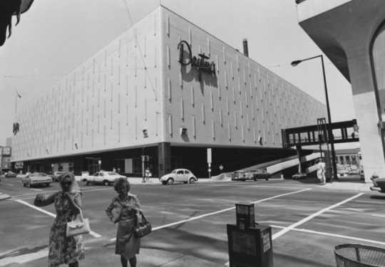 Black and white photograph of Dayton's at Sixth and Wabasha, St. Paul, 1975.