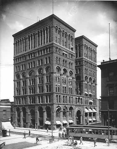 Black and white photograph of the he Germania Life Insurance Building (later called the Guardian Life Building), in St. Paul, 1903–1905. Photographed by Charles P. Gibson.