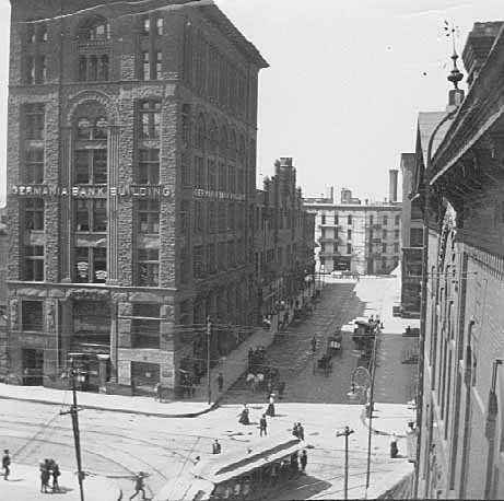Black and white photograph of the Germania Bank Building, 6 West Fifth Street, St. Paul, ca. 1895.