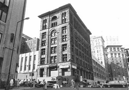 Black and white photograph of the St. Paul Building, Fifth and Wabasha, St. Paul, 1980.