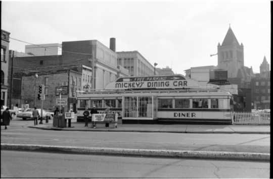 Photograph of Mickey's Diner taken in November of 1982.