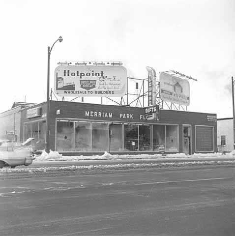 Merriam Park Floral and Gift Company, 2250 University Avenue, St. Paul, 1960, lost to freeway construction. Photo by St. Paul Dispatch-Pioneer Press.
