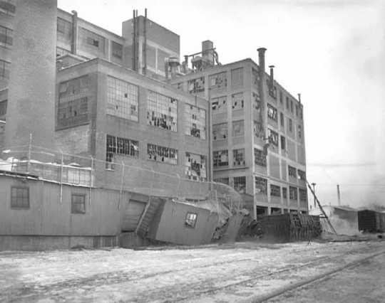 St. Paul's 3M plant after an explosion, 1951. On February 8 of that year, a break in a gas line caused an explosion at 3M's facility in St. Paul, killing thirteen employees and damaging various departments and laboratories throughout the complex.