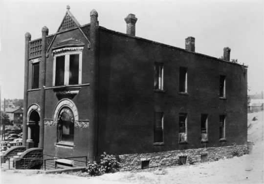 Black and white photograph of Nina Clifford's brothel at 147 S. Washington Street, St. Paul, 1937.