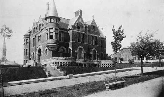 Black and white photograph of the W. Adams Hardenburgh residence at 665 Central Park Place West in St. Paul, c.1888.