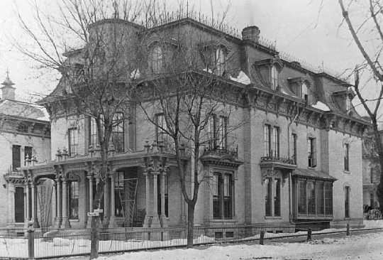 Black and white photograph of James J. Hill residence on Ninth and Canada, St. Paul, 1884.