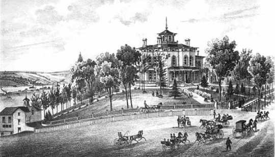 J.C. Burbank's Residence, Summit Avenue, St. Paul, MN. Engraving of the house from An Illustrated Historical Atlas of the State of Minnesota, by A. T. Andreas, 1874.