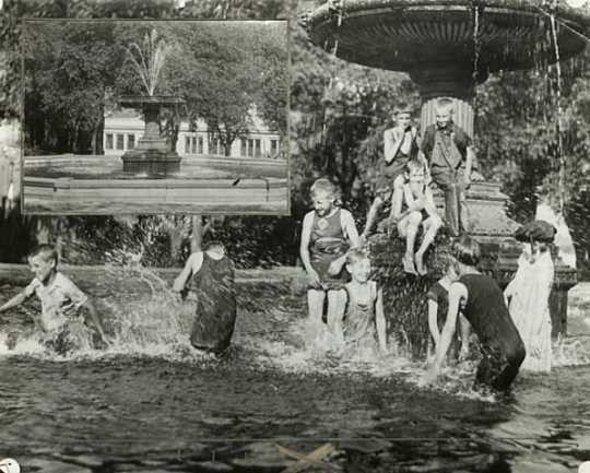 Black and white photograph of children playing in the fountain of St. Paul's Central Park, c. 1929 In the inset one can see the Minnesota Bakery Building on the south end of the park.