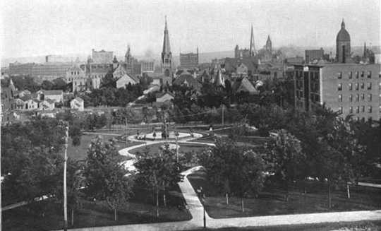 Black and white photograph looking south across the park, 1898.