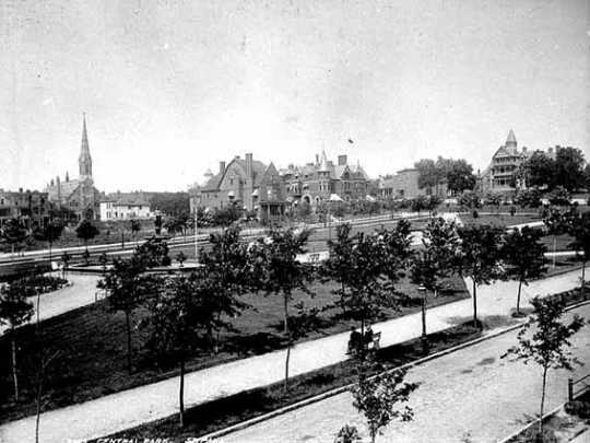 Black and white photograph looking northwest across Central Park, St. Paul, c.1900.