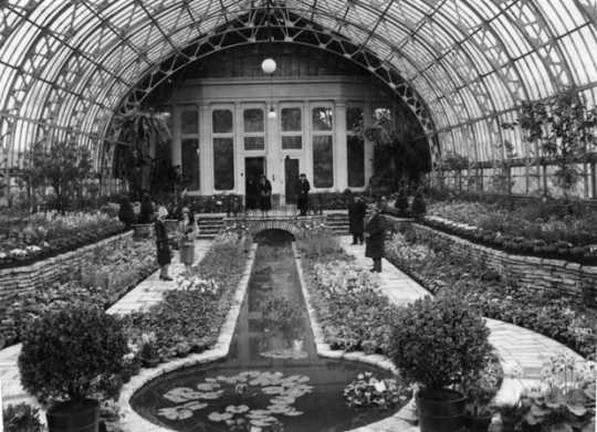 Black and white photograph of a flower show at the conservatory, 1927.
