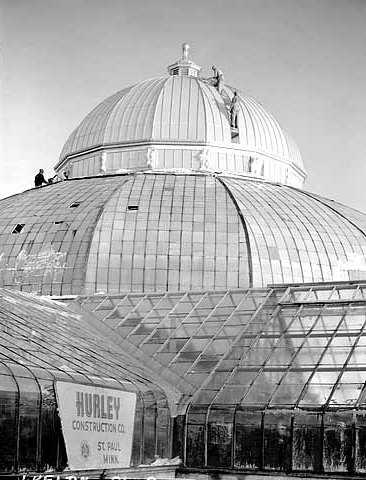 Black and white photograph of restoration work being done on the Conservatory, ca. 1953.