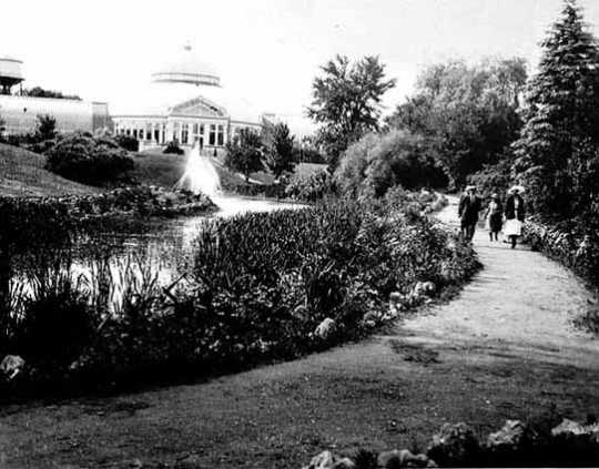 Black and white photograph of the Conservatory exterior, ca. 1916. Photograph by William J. Hosted.