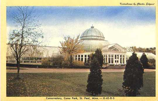 Color postcard of the Conservatory, ca. 1955.