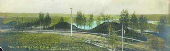 Colorized post card view of Indian Mounds Park, 1908.