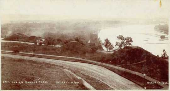 Black and white photograph of Mounds Park ca. 1910. This image shows a commanding view of the river canyon from the mounds.