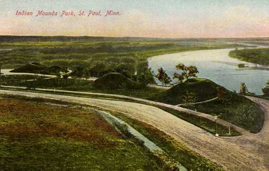 Colorized post card view of Indian Mounds Park, 1904.