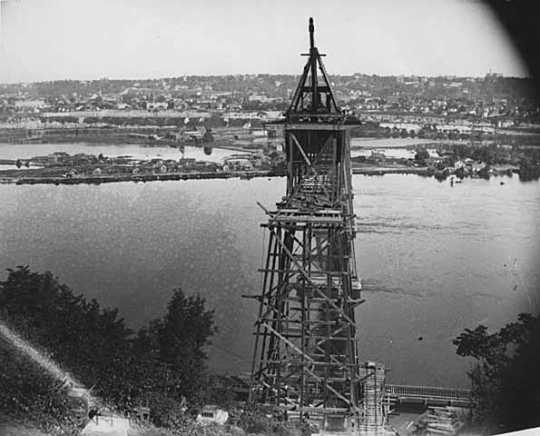 Black and white photoprint of High bridge c.1904.