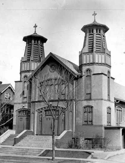 Exterior of the original Church of St. Columba