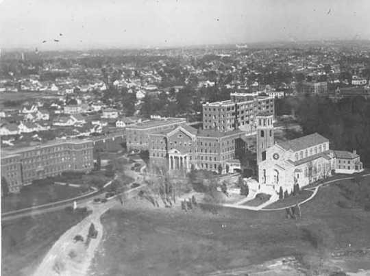 Black and white aerial view of the campus of St. Catherine's College in St. Paul, ca. 1927.