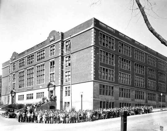 Black and white photograph of Mechanic Arts High School, St. Paul, ca. 1928. Photograph by Charles P. Gibson.