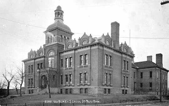 Black and white photograph of Van Buren School (275 Maple Street, St. Paul), ca. 1905.