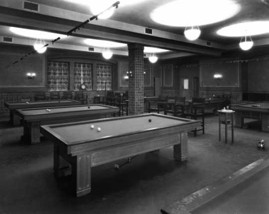 Black and white photograph of the billiard room in the St. Paul Athletic Club, c.1925. Photograph by Charles P. Gibson.