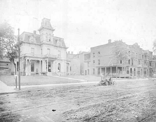 Black and white photograph of Luther Hospital in St. Paul. Photograph by Charles P. Gibson, c.1905.