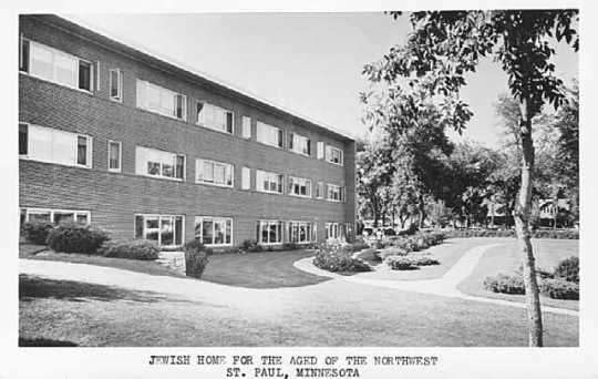 Black and white photograph of the exterior of the Jewish Home for the Aged, 1554 Midway Parkway, St. Paul, c.1960.