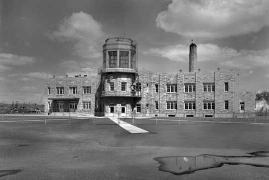Black and white photograph of the Holman Field Administration Building, c.1940.