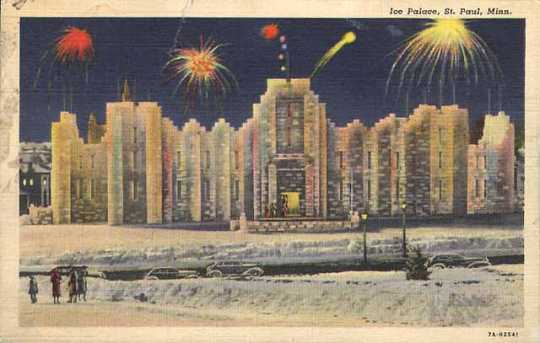 Color postcard of the 1937 Winter Carnival Ice Palace.