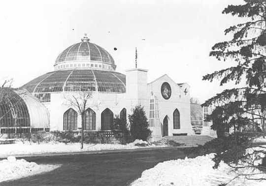 Black and white photograph of the Conservatory with special front for St. Paul Winter Carnival, 1940.