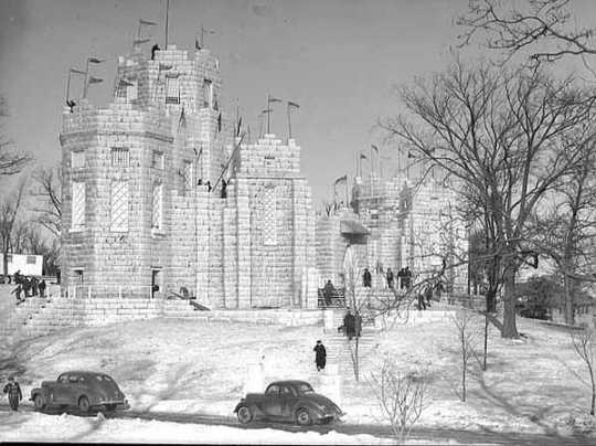 Black and white photograph of the 1941 Winter Carnival Ice Palace.