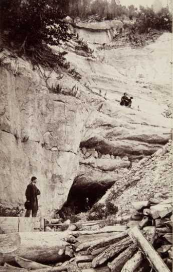 Black and white photograph of Carver's Cave (Wakan Tipi), 1875.