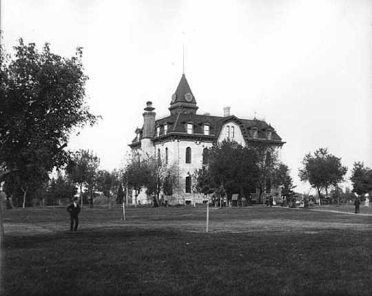 Black and white photograph of Willis Hall, Carleton College, ca. 1890s.