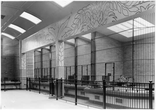 Photograph of an interior mural by Ingrid Edwards, Duluth Zoo, Duluth, ca. 1939.