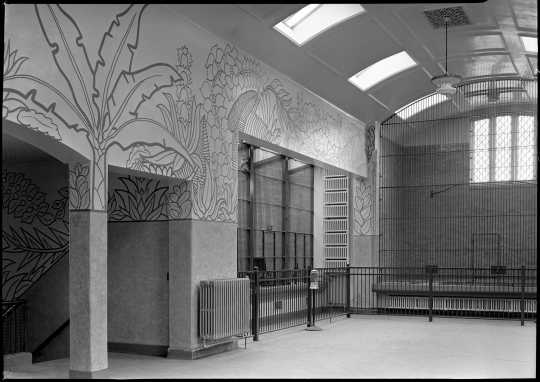 Photograph of the interior of the Duluth Zoo (Federal Art Project), ca. 1939.