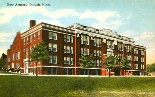 Colorized postcard of the Duluth Armory, c.1920.