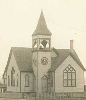 Black and white photograph of a church in Ely, 1913.