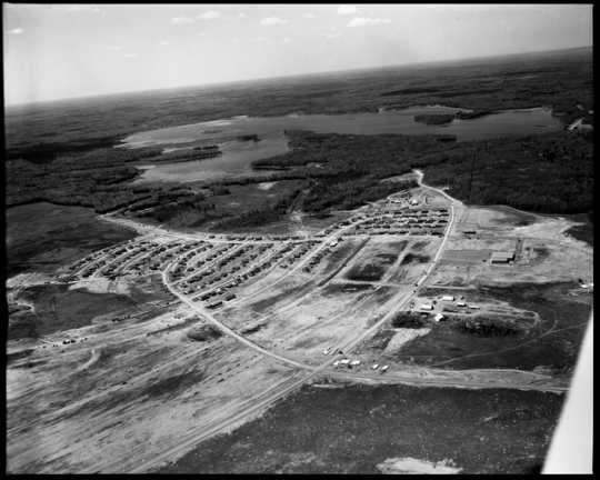 Hoyt Lakes under construction, 1955. Hoyt Lakes was built to accommodate workers and mine staff by the Erie Mining Company—the Iron Range's second major taconite facility.