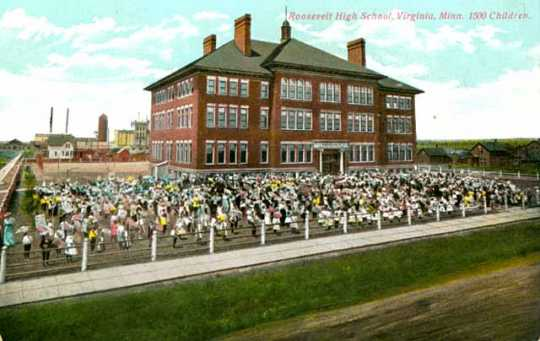 Colorized postcard of Roosevelt High School, ca. 1910.