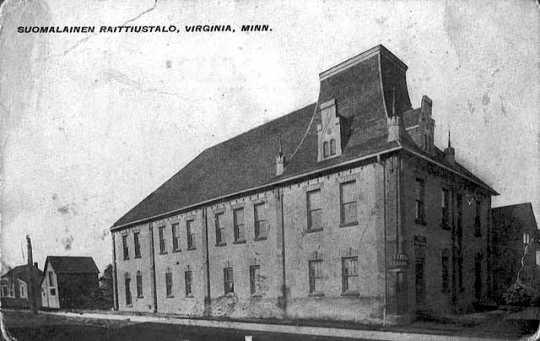 Black and white photograph of Suomalainen Raittiustalo, Virginia, 1910.