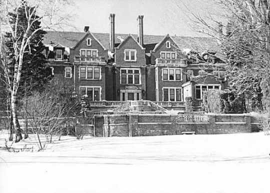 Photograph of Glensheen Mansion, the early 1900s home of Chester A. Congdon at 3300 London Road in Duluth, taken in 1965.