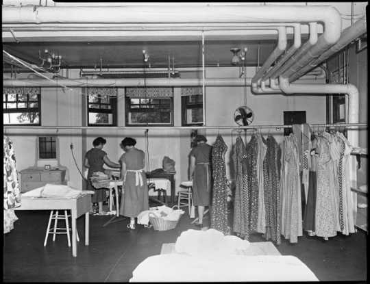 Incarcerated women working in laundry room