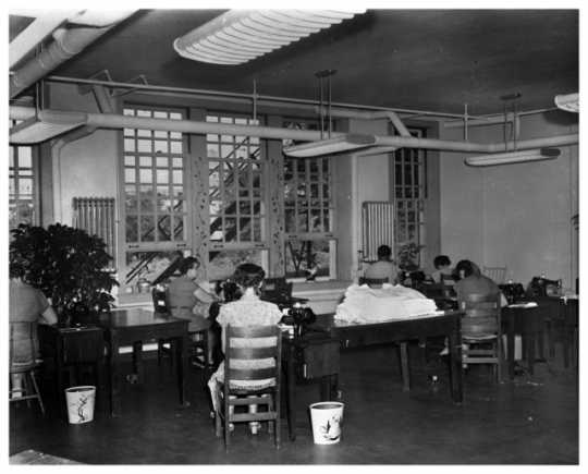 Incarcerated women sewing