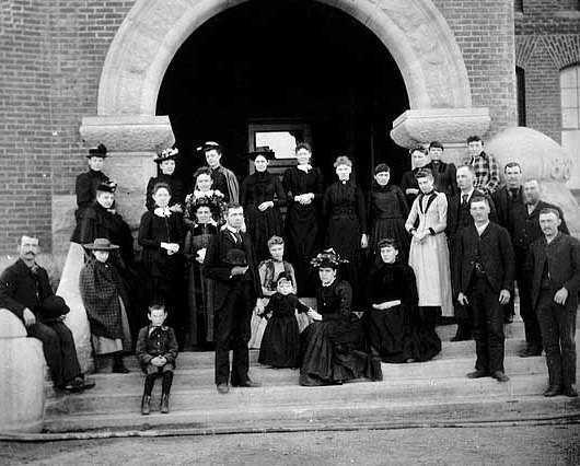 Black and white photograph of faculty of the State School, c.1885.
