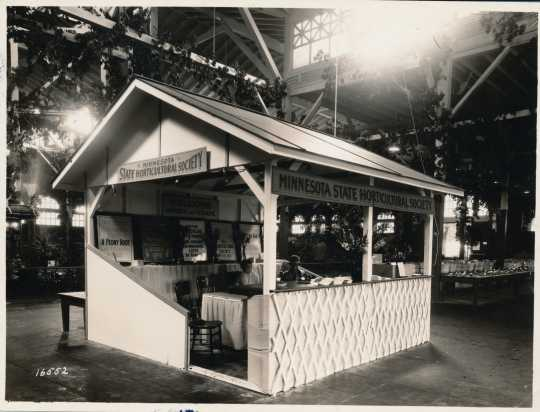 Black and white photograph of the Minnesota State Horticultural Society booth at the Minnesota State Fair, 1927.