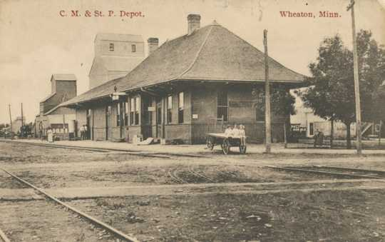 Black and white photograph of the C. M. & St. P. Depot, Wheaton, Minn, 1917.