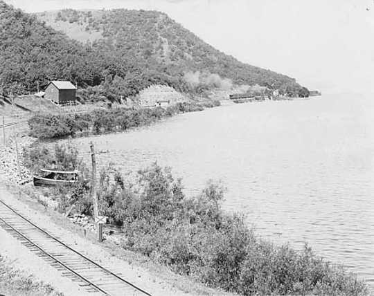Black and white photograph of the Chicago, Milwaukee, St. Paul and Pacific Railway Company tracks near Maple Springs, Wabasha County, 1903.